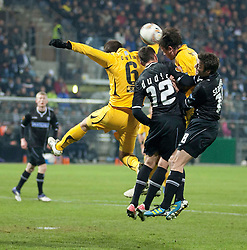 14.12.2011, UPC Arena, Graz, AUT, UEFA Europa League , Sturm Graz vs AEK Athen FC, im Bild Juan Torres Ruiz (AEK Athen FC, Defender, #6) gegen Milan Dudic (SK Puntigamer Sturm Graz, #12) und Joachim Standfest (SK Puntigamer Sturm Graz, #18) // during UEFA Europa League football game between Sturm Graz and AEK Athens FC at UPC Arena in Graz, Austria on 14/12/2011. EXPA Pictures © 2011, PhotoCredit: EXPA/ E. Scheriau