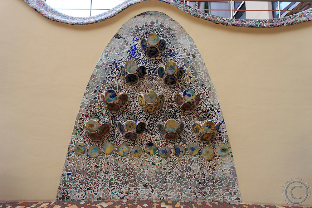 Intricate tile work in Casa Battlo in downtown Barcelona, Spain, one of Antonio Gaudi's most famous buildings.