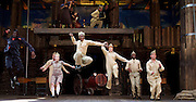 946: The Amazing Story of Adolphus Tips <br /> directed by Emma Rice at The Globe Theatre, London, Great Britain <br /> press photocall <br /> 16th August 2016 <br /> <br /> Katy Owen as Lily <br /> <br /> Nandi Bhebhe as Tips The Cat <br /> <br /> Ewan Wardrop as Mrs Ivy Turner<br /> <br /> Kyla Goodey as Lily's Mum <br /> <br /> Adebayo Bolaji as Blues Man <br /> <br /> <br /> <br /> <br /> Photograph by Elliott Franks <br /> Image licensed to Elliott Franks Photography Services