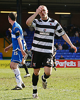 Photo: Matt Bright/Richard Lane Photography. <br /> Stockport County v Darlington. Coca Cola Divison Two. 05/04/2008. Tommy Wright can't believe he's missed