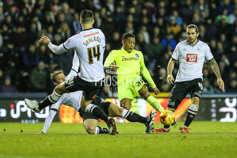 Brighton's Rajiv van La Parra takes a shot during the Sky Bet Championship match between Derby County and Brighton and Hove Albion at the iPro Stadium, Derby, England on 12 December 2015. Photo by Shane Healey.