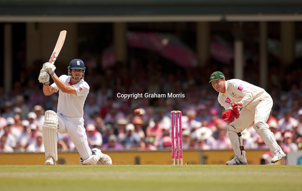 Alastair Cook, four off Michael Beer as wicket keeper Brad Haddin watches, during his century in the fifth and final Ashes test match between Australia and England at the SCG in Sydney, Australia. Photo: Graham Morris (Tel: +44(0)20 8969 4192 Email: sales@cricketpix.com) 05/01/11