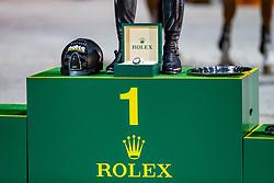 Impression Podest<br /> Genf - CHI Rolex Grand Slam 2018<br /> Rolex Grand Prix - Siegerehrung<br /> 09. Dezember 2018<br /> © www.sportfotos-lafrentz.de/Stefan Lafrentz