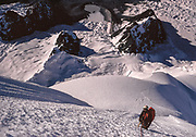 Climbr nearing 6000 m summit Colque Cruz I during first ascent, Cordillera Vilcanota, Southern Peru