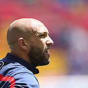 Goalkeeper Tim Howard during warm up before the US Men's National Team Vs Turkey friendly match at Red Bull Arena.  The game was part of the USA teams three-game send-off series in preparation for the 2014 FIFA World Cup in Brazil. Red Bull Arena, Harrison, New Jersey. USA. 1st June 2014. Photo Tim Clayton