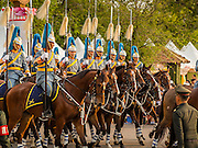 02 DECEMBER 2014 - BANGKOK, THAILAND: Thai calvary units march in the annual Trooping of the Colors parade on Sanam Luang in Bangkok. The Thai Royal Guards parade, also known as Trooping of the Colors, occurs every December 2 in celebration of the birthday of Bhumibol Adulyadej, the King of Thailand. The Royal Guards of the Royal Thai Armed Forces perform a military parade and pledge loyalty to the monarch. Historically, the venue has been the Royal Plaza in front of the Dusit Palace and the Ananta Samakhom Throne Hall. This year it was held on Sanam Luang in front of the Grand Palace.    PHOTO BY JACK KURTZ