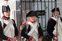 Belgium, Vieux-Genappe near Waterloo on 4th of June 2015. Official reopening of this former  farm, now a museum  where Emperor Napoleon and his staff spent the night of 17th June 1815. The last night before the battle of Waterloo.gate with date of the night