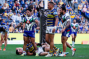 Issac Luke after scoring. Parramatta Eels v Vodafone Warriors. NRL Rugby League. Bankwest Stadium, Sydney, Australia. 27th July 2019. Copyright Photo: David Neilson / www.photosport.nz