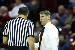 18 January 2007: Porter Moser speaks with the official. The Shockers of Wichita State were shut off by the Redbirds by a score of 83-75 at Redbird Arena in Normal Illinois on the campus of Illinois State University.