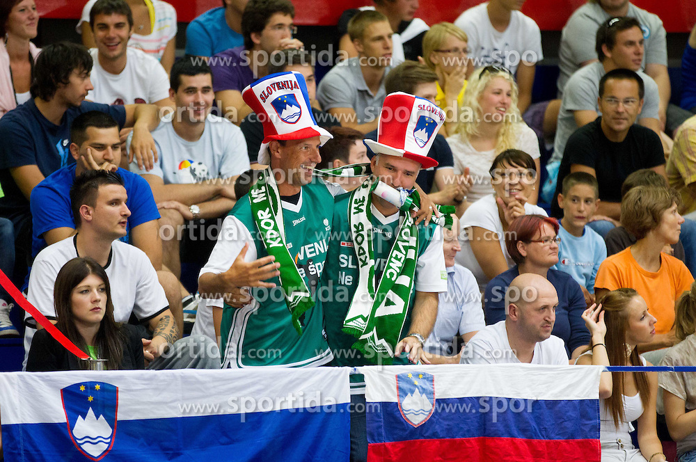 Fans of Slovenia during basketball match between National teams of Latvia and Slovenia in Qualifying Round of U20 Men European Championship Slovenia 2012, on July 16, 2012 in Domzale, Slovenia. Slovenia defeated Latvia 69-62. (Photo by Vid Ponikvar / Sportida.com)