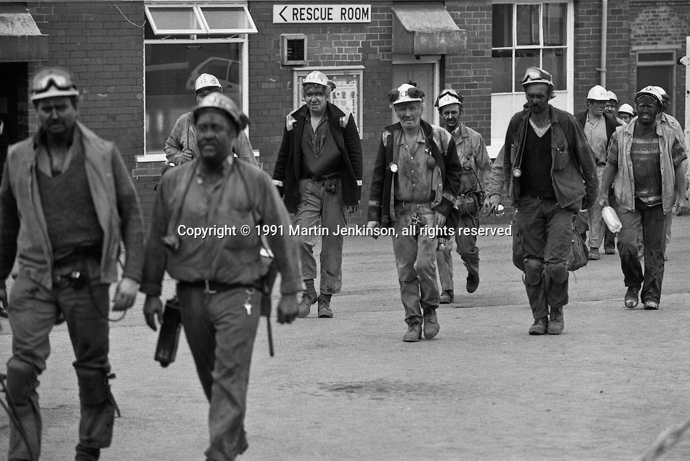 Miners coming of shift at Frickley Colliery, South Elmsall. British Coal North Yorkshire Group. 29.10.1991.