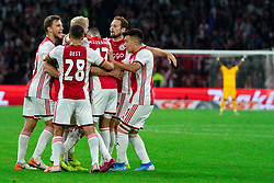 13-08-2019 NED: UEFA Champions League AFC Ajax - Paok Saloniki, Amsterdam<br />  Ajax won 3-2 and they will meet APOEL in the battle for a group stage spot / Nicolás Tagliafico #31 of Ajax scores 2-1, Daley Blind #17 of Ajax, Lisandro Martínez #21 of Ajax, Joël Veltman #3 of Ajax