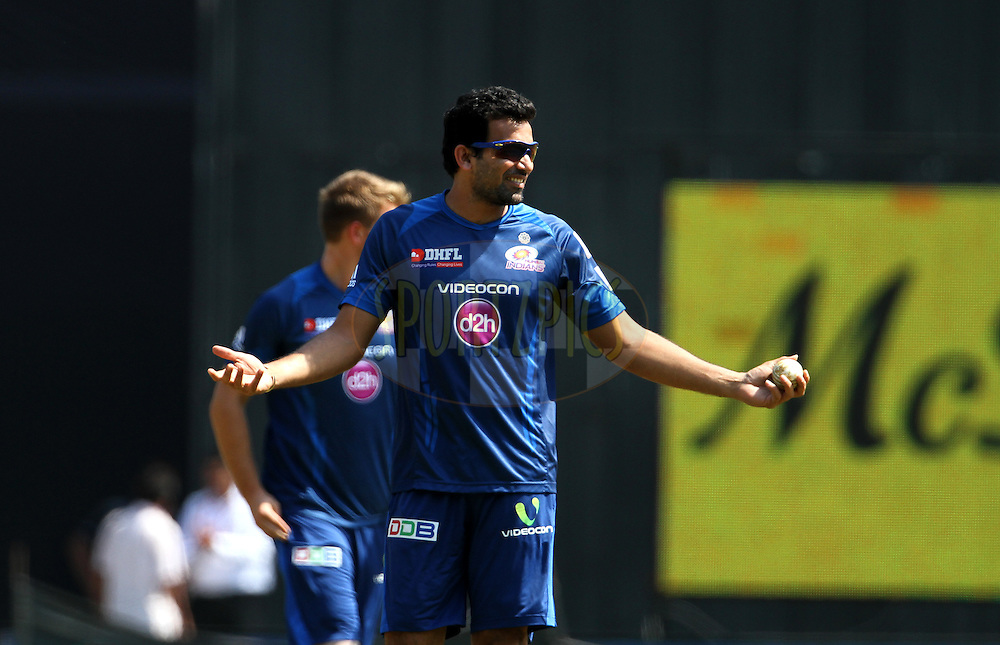 Zaheer Khan of the Mumbai Indians during the practise session of the match 22 of the Pepsi Indian Premier League Season 2014 between the Mumbai Indians and the Kings XI Punjab held at the Wankhede Cricket Stadium, Mumbai, India on the 3rd May  2014<br /> <br /> Photo by Vipin Pawar / IPL / SPORTZPICS<br /> <br /> <br /> <br /> Image use subject to terms and conditions which can be found here:  http://sportzpics.photoshelter.com/gallery/Pepsi-IPL-Image-terms-and-conditions/G00004VW1IVJ.gB0/C0000TScjhBM6ikg