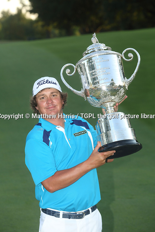 Jason DUFNER (USA) with the Wannamaker trophy during fourth round US PGA Championship 2013,Oak Hill CC,
