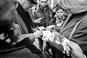 Birthplace of Benito Mussolini. Meeting of the anniversary of the march on Rome.Romano Mussolini, the last surviving son of Benito Mussolini sign autographs for his fans..