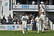 Chris Read leads Nottinghamshire out at the start of day 4 of the Specsavers County Champ Div 2 match between Sussex County Cricket Club and Nottinghamshire County Cricket Club at the 1st Central County Ground, Hove, United Kingdom on 28 September 2017. Photo by Simon Trafford.