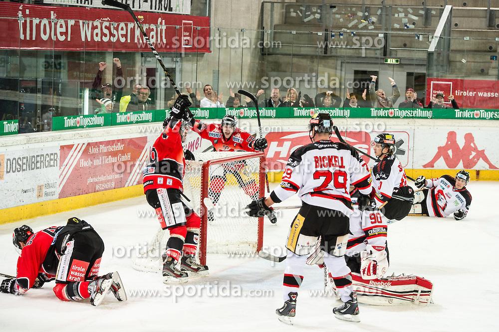 28.10.2012, Tiroler Wasserkraft Arena, Innsbruck, AUT, EBEL, HC TWK Innsbruck vs HC Orli Znojmo, 16. Runde, im Bild Tor von Andreas Noedl / Nodl, (HC TWK Innsbruck, #29), Francis Lemieux, (HC TWK Innsbruck, # 55), Bryan Bickell, (HC Orli Znojmo, #29), Ondrej Kacetl, (HC Orli Znojmo, #90) // during the Erste Bank Icehockey League 16th Round match between HC TWK Innsbruck and HC Orli Znojmo at the Tiroler Wasserkraft Arena, Innsbruck, Austria on 2012/10/28. EXPA Pictures © 2012, PhotoCredit: EXPA/ Eric Fahrner