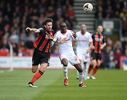 Bournemouth's Charlie Daniels battles for the ball with Middlesbrough's Albert Adomah - Photo mandatory by-line: Alex James/JMP - Mobile: 07966 386802 - 21/03/2015 - SPORT - Football - Bouremouth - Goldsands Stadium - Bournemouth v Middlesbrough - Sky Bet Championship