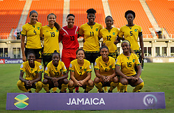 October 12, 2018 - Edinburgh, Scotland, United Kingdom - Edinburg, NC - OCTOBER 11: 2018.Back Row :- Chantelle Swaby, Toriana Patterson, Nicole McClure, Khadija Shaw, Sashana Campbell and Konya Plummer of Jamaica..Front Row:- Deneisha Blackwood,Jody Brown,Chinyelu Asher, Christina Chang  and Jadyn Matthews of Jamaica..During CONCACAF Women's Championship Group B match between Cuba against Jamaica at H-E-BPark Stadium, Edinburg,  on October 11, 2018  (Credit Image: © Action Foto Sport/NurPhoto via ZUMA Press)