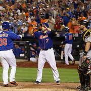 Michael Conforto, New York Mets, is congratulated at home plate by Travis d'Arnaud after his first home run at Citi Field during the New York Mets Vs Pittsburgh Pirates MLB regular season baseball game at Citi Field, Queens, New York. USA. 15th August 2015. Photo Tim Clayton
