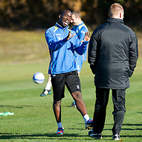 St Johnstone Training...26.10.12 <br /> Gregory Tade pictured in training this morning ahead of tomorrow's game against his old club Inverness. He is pictured with gaffer Steve Lomas<br /> Picture by Graeme Hart.<br /> Copyright Perthshire Picture Agency<br /> Tel: 01738 623350  Mobile: 07990 594431