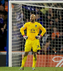 OLDHAM, ENGLAND - Saturday, February 16, 2013: Everton's goalkeeper Tim Howard looks dejected as Oldham Athletic score the equalising 2-2 goal into injury-time during the FA Cup 5th Round match at Boundary Park. (Pic by Vegard Grott/Propaganda)