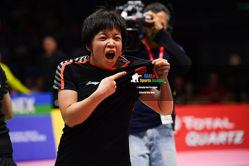 BANGKOK, THAILAND - MAY 25: Chen Yufei and Jia Yifan of China reaction on Court 1 during her Semi-Finals match against Jongkolphan Kititharakul and Rawinda Prajongjai of Thailand at the BWF Total Thomas and Uber Cup Finals 2018, Impact Arena , Bangkok, Thailand on May 25, 2018.<br /> .<br /> .<br /> .<br /> Photo by: Naratip Golf Srisupab/SEALs Sports Images<br /> <br /> .<br /> All photo must include a credit line adjacent to the content: Naratip Golf Srisupab/SEALs Sports Images