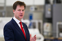 © Licensed to London News Pictures. 08/10/2013. London, UK. The British Deputy Prime Minister, Nick Clegg, delivers a speech on Britain and Europe to media at the factory of Buhler Sortex Limited in East London today (08/10/2013). Photo credit: Matt Cetti-Roberts/LNP