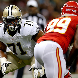 Aug 9, 2013; New Orleans, LA, USA; New Orleans Saints tackle Charles Brown (71) during a preseason game at the Mercedes-Benz Superdome. The Saints defeated the Chiefs 17-13. Mandatory Credit: Derick E. Hingle-USA TODAY Sports