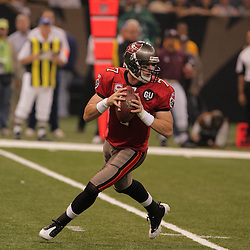 2008 September 7: Tampa Bay Buccaneers quarterback Jeff Garcia (7) rolls out as he looks to pass against the New Orleans Saints at the Louisiana Superdome in New Orleans, LA.
