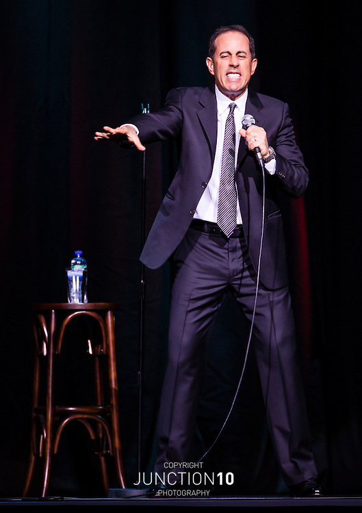 Jerry Seinfeld on stage during his first UK show outside of London, at the NIA - Birmingham, United Kingdom.Picture Date: 11 May, 2012