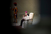 POPE FRANCIS DELIVERS HIS SPEECH DURING HIS WEEKLY GENERAL AUDIENCE AT THE PAUL VI HALL ON MARCH 07, 2018 AT THE VATICAN.<br /> <br /> POPE; FRANCIS; GENERAL AUDIENCE; PAUL VI; HALL; WEEKLY; SPEECH; VATICAN; GA070318; GA07032018