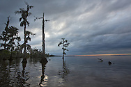 April 4, 2014, Lake Maurepas. Louisiana, spring showers loom as cloud move in over the lake.