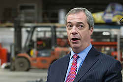 © Licensed to London News Pictures . 23/03/2015 . Middleton , UK . NIGEL FARAGE . UKIP leader Nigel Farage , Deputy Leader Paul Nuttall and Economics Spokesman Patrick O'Flynn announce UKIP's economic policy at Concept Metal Products and Co Ltd in Middleton , Lancashire . Photo credit : Joel Goodman/LNP