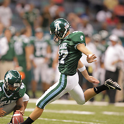 20 September 2008: Tulane kicker Ross Thevenot (47) kicks a extra-point during a Conference USA match up between the University of Louisiana Monroe and Tulane at the Louisiana Superdome in New Orleans, LA.