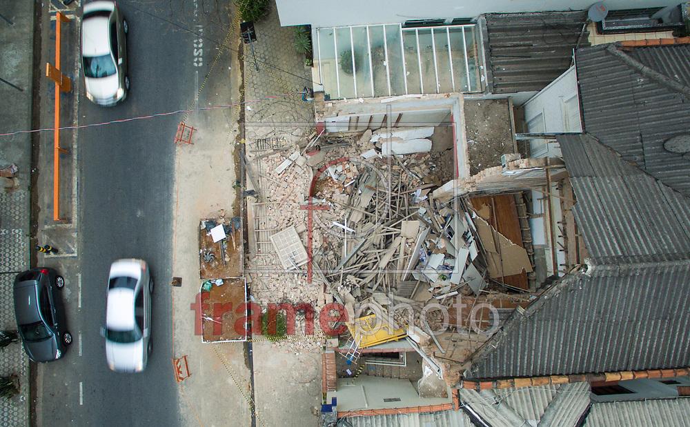 Imagem aerea do imóvel que desabou na Rua José Maria Lisboa, com  Alameda Joaquim Eugênio de Lima, região dos Jardins centro de São Paulo na última sexta-feira.Foto Marcelo D. Sants/FramePhoto.