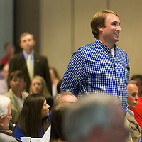 Robby Parman with Regional Rehab Center stands as the nominees are recognized during the Daily Journal's Top 40 Under 40 lunch event Thursday afternoon at the First United Methodist Church in Tupelo.