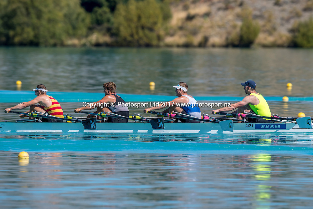 Chris Harris (stroke), Karl Manson, Jack O'Leary and Troy O'Reilly (bow) Central RPC,  2nd place premier quad final, NZ Rowing Championships, 16 February 2017 , Lake Ruataniwha © Copyright photo: Steve McArthur / www.photosport.nz