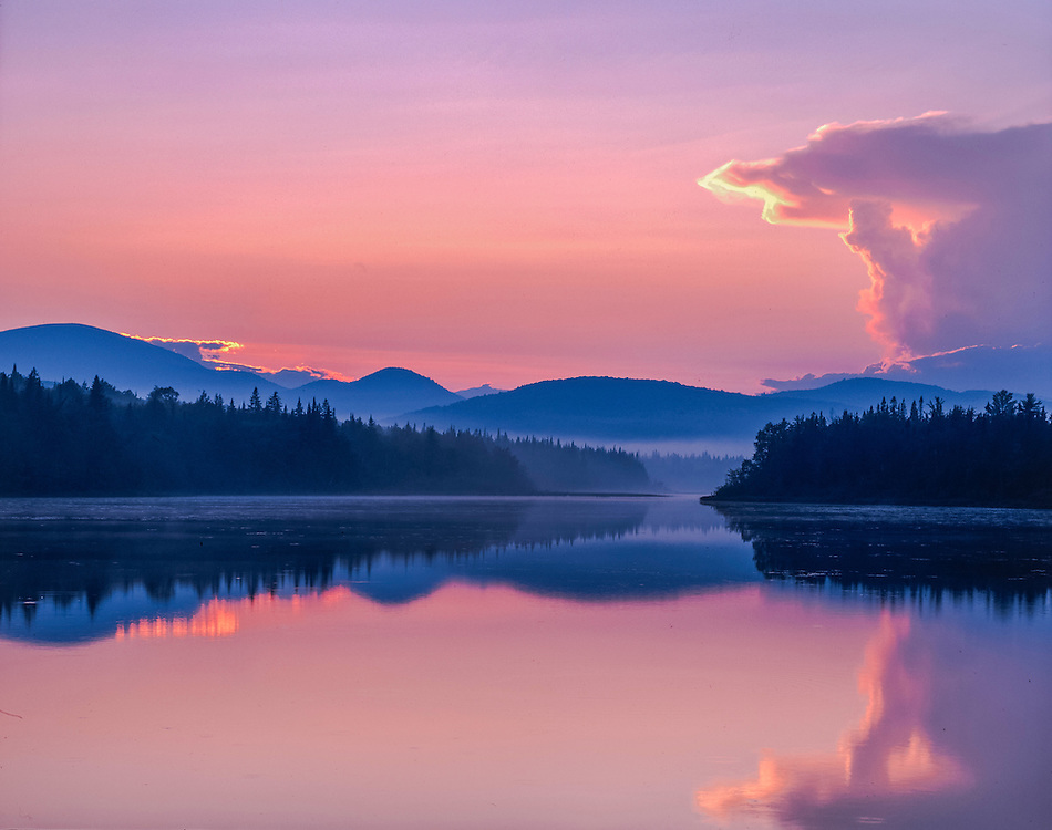 Pontook Reservoir at dusk, Mist & Mountain Ridgelines, Dummer, NH