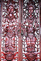 Details of carved, wooden portals in Pura Tembok temple, Bali, Indonesia.