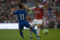 August 2, 2018 - Dublin, Ireland - Pedro (11) of Chelsea fight for the ball with Sead Kilasinac of Arsenal during the International Champions Cup match between Arsenal FC and Chelsea FC at Aviva Stadium in Dublin, Ireland on August 1, 2018  (Credit Image: © Andrew Surma/NurPhoto via ZUMA Press)