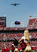 Oct 07, 2018; Santa Clara, CA, USA; Ceremonial flyover by the Moffett Air National Guard HC-130J prior to an NFL game between San Francisco 49ers and the Arizona Cardinals at Levi's Stadium. (Spencer Allen/Image of Sport)
