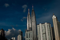 The stunning twin towers in Kuala Lumpur stands high above the city skyline.