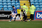 Carlisle United Forward Alex Gilliead  stopped on the run during the Sky Bet League 2 match between Carlisle United and Mansfield Town at Brunton Park, Carlisle, England on 9 April 2016. Photo by Craig McAllister.