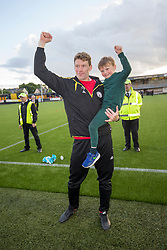 Brechin City manager Darren Dods with his son Dylan (5), Alloa Athletic 4 v 3 Brechin City (Brechin won 5-4 on penalties), Ladbrokes Championship Play-Off 2nd Leg at Alloa Athletic's home ground, Recreation Park, Alloa.