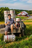 Alumni Josh Mersfelder '14 at craft brewery Local 315. Magazine fall 2016.<br /> photo: Mike Cohea