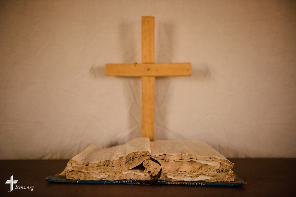 The altar and weathered Bible at the Lutheran Church of Togo in Lokpano on Monday, Feb. 13, 2017, in Togo. The church is the first Lutheran church plant in the country. LCMS Communications/Erik M. Lunsford
