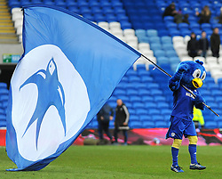 Cardiff City mascot celebrates at the full time whistle - Mandatory by-line: Nizaam Jones/JMP - 17/02/2018 -  FOOTBALL - Cardiff City Stadium - Cardiff, Wales -  Cardiff City v Middlesbrough - Sky Bet Championship