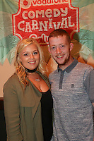 repro free: Vodafone Comedy Carnival : <br /> <br /> Pictured at the launch of the Vodafone Comedy Carnival in the Roisin Dubh were Rachel Ryan and Sean Flanagan/ Ballybane. The 2016 Vodafone Comedy Carnival runs as part of Vodafone&rsquo;s Centre Stage and is sure to fill the &lsquo;Eyre&rsquo; with laughter with performances from international and home grown comedians over the October bank holiday weekend (25th to 31st of October). Shows will take place in multiple venues across the city, including the brand new venue &lsquo;The Red Box&rsquo; at Eyre Square. Tickets on sale from Monday 29th August. For more for info go to  HYPERLINK &quot;http://www.vodafonecomedycarnival.com&quot; www.vodafonecomedycarnival.com&nbsp; <br /> Photo: xposure.