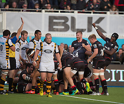 October 9, 2016 - Barnet, England, United Kingdom - Saracens Maro Itoje celebrates try during the Aviva Premiership match between Saracens and Wasps at the Allianz Park, London, England on 9th October 2016.    in Barnet, England. (Credit Image: © Kieran Galvin/NurPhoto via ZUMA Press)